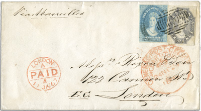 "Nov 1866 Ship Mail cover to UK, franked 10d paying rate via Marseilles. 14-bar dumb canceller of Hobart cancels stamps, endorsed with red ""General Post Office Hobart Town ship mail canceler"