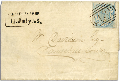 "Cover Campbell Town with first allocation BN 18 cancelling 1d Courier stamp which pays Town letter rateand local ""Camp Town"" handstamp."